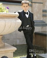 Boy's Formal Wear black suit apparel - High quality Boy Formal Occasion Kit Suits Kid Attire Wedding Apparel Birthday Party Prom Suit jacket pants tie vest NO