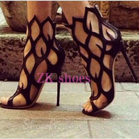 Barato Botas De Tornozelo Amarradas-2018 Mulher Strappy High Heels Pumps Sexy Ladies Cutout Lace Up Pointy Stiletto Booties Sandálias de gladiador Summer Ankle Boots Shoes