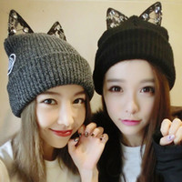 Wholesale Diamond Ear Cap - Fashion winter hat with Lace diamond knit acrylic beanies girl's cat ear hat 2 colors avaolable free shipping