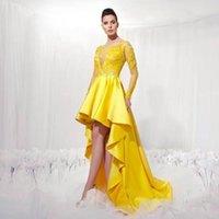 Wholesale Asymmetric Strap Summer Dress - Fashion Yellow Long Sleeve Evening Gowns Dress Asymmetric Dresses Lace Applique Stain Pleated Vestido De Fiesta