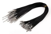 ingrosso cavi neri per ciondoli-Promozionale in pelle nera fai-da-te in pelle di cera serpente collana ciondolo corda corda 50 cm con catene estensori componenti gioielli fai da te W109