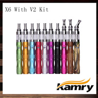 Wholesale x6 electronic cigarette kit - Kamry eGo X6 V2 Ecigarette Starter Kit 1300mAh Variable Voltage X6 Electronic Cigarette Battery With V2 Atomizer 100% Original