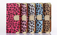Wholesale Galaxy S4 Leopard Cases - For S4 Leopard Cover PU Leather Flip Case Kickstand Cases For Samsung Galaxy S4 iPhone6 6s 4.7 6s plus S6 edge S5 i9600 S4 i9500 Cover Cases