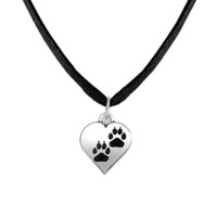 Wholesale Cat Power Animal - Fitness Jewelry Zinc Alloy Antique Silver Floating Dog or Cat Paw Print on Heart Charms Animal Bear Pet Chain&Rope Pendant Necklaces