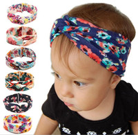 Wholesale Knitted Elastic Headbands - New Knitted cotton children headbands knoted cotton headband for baby girls Rabbit ears elastic hair bands 6 colors hair ccessories DIY