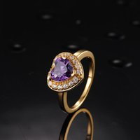 Star Harvest Jewelry Factory 2017New style Argento sterling 925 Best Seller Purple Silver Heart Gold Promise Ring nuovo prodotto romantico