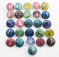 Wholesale 18mm Letters - 18mm Alphabet Ginger Snap Buttons Enamel Color the letter Ginger Snaps Jewelry Mixed snap button jewellery 26PCS FF