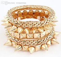 Wholesale Cheap Fashion Id Bracelets - Wholesale-Christmas gift cheap wholesale fashion handmade gold multi layer rivet high quality bracelet free shipping over $15 mixed order