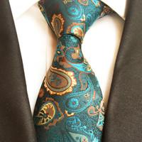 gravatas alaranjadas de paisley para homens venda por atacado-New Classic 100% Gravata De Seda Dos Homens Gravatas Gravatas Paisley Verde Laranja Listrado Laços para Festa de Casamento Dos Homens de Negócios Gravatas Corbatas