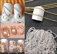 Wholesale Chain Metal Nail Art - New Arrival 1m Nail Art Tips 3D Stickers Metal Glitter Striping Ball Beads Chain Decorations With Low Price