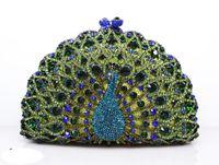 Wholesale Peacock Hard Case - luxury Evening Bag Fashion multicolour option peacock Handbag Bling Crystal Clutch Metal Hard Case HK crystal Bag Diamond Bag Jewellery Box