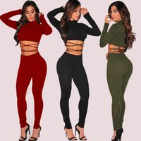 Wholesale Bodywear Women - Women Black Red Bodysuit Long Sleeve High Neck Bodycon Jumpsuit Slim Skinny Strappy Playsuit Bodywear Sexy Clubwear DZG1101