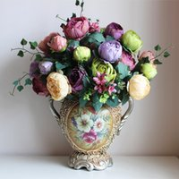ingrosso decorazione falsa peonies-1 pz bellissimi bouquet di peonia artificiali economici fiori di seta decorazione della casa 6 colori disponibili 12 teste di fiori decorazioni di nozze fiori finti