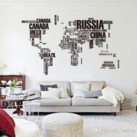 duvarlar için harita dekalları toptan satış-Perakende ücretsiz kargo 2015 Dünya Haritası Duvar Sticker Harita Öğrenme Çalışması intersting için Siyah Duvar Dekor Sanat kelimeler Vini ...