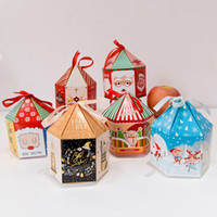 Wholesale Gift Packaging Ribbon Wholesale - christmas gift box paperboard candy bag santa claus christmas tree cookie packaging ornament kids gift boxes with ribbon