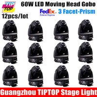 Wholesale-12pcs / lot 60W Led Moving Head Spot Light 3-Facet Rotating Prism Hi-Qualidade Led luzes do palco Led Moving Head 90V-240V DMX 512