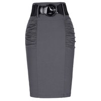 Wholesale High Waist Fitted Business Skirts - Wholesale- 2017 New Sexy Pencil Skirts Womens Business Work Office Skirt With Belt High Waist Elastic Casual Bodycon Slim Fit Ladies Skirts