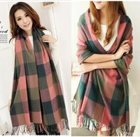 Wholesale Thick Scarves For Women - scarfs for women winter cashmere scarves plaid blanket ladies scarf brand korean long thick shawl collar gryffindor designer scarves