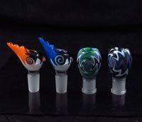 usa schüssel großhandel-Mischfarben Tabak Zigarre Glas Pfeifenhalter Filter Slide Bong Wasserpfeife USA Farbe 14mm19mm