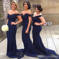 Wholesale little mermaid charms - 2016 Navy Blue Arabic Off Shoulders Bridesmaid Dresses Arabic Sexy Little Cap Sleeves Beaded Mermaid Vestido Longo Charming Formal Dresses