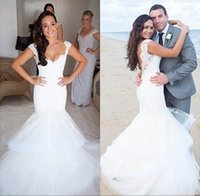 Wholesale Sweetheart Wedding Dress Layer Organza - 2016 Sexy Lace Mermiad Wedding Dresses Sweetheart Cap Sleeves Appliques Layers Tulle Backless Court Train Bridal Gowns BO8572