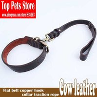 Wholesale Types Leather Harness - Brand new pet genuine leather leash Band type copper hook dogs traction rope with collar 57*2.5cm free shipping