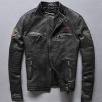 Wholesale Race Leather Jacket - REDSKINS motorcycle jackets RACING PARTS REDSKINS MOTOR OIL leather jackets black vintage genuine leather jackets
