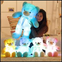 Wholesale Kawaii Doll Plush - 4 Colors 50cm Colorful Glowing Teddy Bear Luminous Plush Toys Kawaii Light Up LED Teddy Bear Stuffed Doll Kids Christmas Toys CCA8353 60pcs