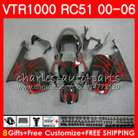 Wholesale rc51 sp2 - Body For HONDA RTV1000 VTR red flames 1000 00 01 02 03 04 05 06 92NO48 VTR1000 RC51 SP1 SP2 00 2000 2001 2002 2003 2004 2005 2006 Fairing