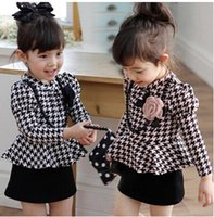 Wholesale European Classic Clothes - 2015 New girls Classic plaid Frill dress children's long sleeve gird dress baby girl lattice dress princess dresses kids clothing C001