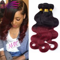 Brazilian Ombre Two Tone 1B / BG Ondas del cuerpo humano Extensiones de cabello Ombre 1B 99J Borgoña Body Wave Hair Bundles 3pcs / lot Black Friday