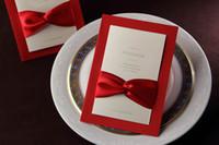 davetiyeler kırmızı kurdela toptan satış-Düğün Davetiyeleri Kartları Kırmızı Katlanmış Şerit Avrupa Tarzı Ücretsiz Kişiselleştirilmiş Özelleştirilmiş Baskı Davetiyeleri Kartları Iş Davetiyeleri