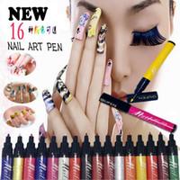 kit de pintura para unhas venda por atacado-2015 nova Nail Art Pen Ferramenta de Design de Pintura 16 Cores Opcionais Desenho Gel DIY Nail Tool Kit ferramentas de Pontilhamento de unhas