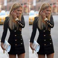 Wholesale Hot Spandex Mini Skirts - Dress Europe US hot style pencil skirt personality fashion long-sleeved dress buttons putting woman double-breasted coat v-neck DHL 100pcs
