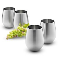 Wholesale Wine Tumbler Set - Stainless Steel Wine Glass - Set of 4 Large & Elegant Stemless Goblets (18oz) - Unbreakable Metal Drinking Tumblers Perfect Gift