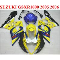 Wholesale Suzuki K5 Corona - High quality ABS fairing kit for SUZUKI 2005 2006 GSXR1000 05 06 GSX-R1000 K5 K6 yellow blue Corona fairings set SX12