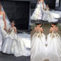 Wholesale Ivory Applique Ruffle - Illusion Long Sleeve Ball Gown Flower Girl Dresses Floral Appliques Ruched Ivory Communion Dresses Ruffles Organza Bridal Pageant Girl Gowns