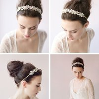 Wholesale Clear Plastic Headbands - Beading Pearls Bridal Headpiece Headbands Crystals Tiaras New Arrival Sparkle Bridal Tiara Hair Crown Rhinestones Wedding Accessories