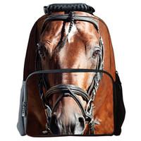Wholesale Horse School Backpacks - 2015 new arrival 3D horse fashion Backpack Hip-Hop Style Mochilas children school shoulder bag Men women travel Rucksacks 1467D