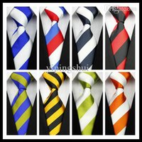 Venta al por mayor-CON01 Azul Rojo Verde Blanco Amarillo Negro Stripe hombre de seda clásico de poliéster Tie Business Wedding Party Men Moda Corbata