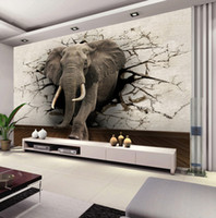 Wholesale World Interiors - Custom 3D Elephant Wall Mural Personalized Giant Photo Wallpaper Interior decoration Mural Animal world Wallpaper Kid's room Decor Wall art