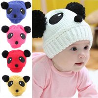 Wholesale Winter Kids Panda Hat - Lovely Animal Panda Baby Hats And Caps Kids Boy Girl Crochet Beanie Hats Winter Cap For Children To Keep Warm Hot Sale free shipping TY1263