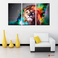 Wholesale Large Canvas Oil Paintings Sale - 3 panel large canvas wall art modern abstract lion decoration oil painting printed on canvas wall picture for living room paintings for sale