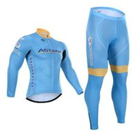 Wholesale Cheap Spandex Cycling Shorts - 2016 cheap ASTANA MOTORS Long Sleeve Cycling Jersey + Bib Pants Ciclismo Bicycle Bike Wear cycling clothing (FLEECE)