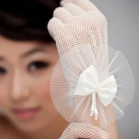 Wholesale Organza Wedding Gloves - Sweety White Gloves Organza Flower Wedding Bride Gloves Full Finger Wrist Length Free Shipping In Stock Bridal Gloves Made In China SHJ