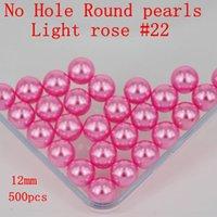 Wholesale Diy Nail Art Flowers - No Hole Many Colors To Choose 500PCS 12mm No Hole Round Pearls Imitation Pearls Craft Art diy Beads Nail Art Decoration