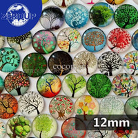 Wholesale Glass Cabochon Cameos - Wholesale-12mm new tree branches round glass cabochon mixed patternes fit cameo base setting for jewelry embellishment flatback 50pcs lot