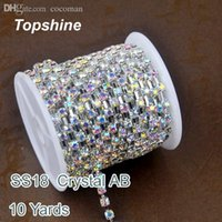 Wholesale Cheapest Glass Rhinestones - Wholesale-Cheapest 10 Yard SS18 Crystal AB Glass Rhinestones Cup Chain For Garment