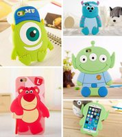 Wholesale Iphone 3d Alien Cases - 3D Carton Silicone Phone Case for iPhone 5 5S 6 6S Plus 6plus Bear Sulley Single Eye Mike Wazowski Three Eyes Alien Phone Back Cover