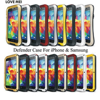 Wholesale Love Mei Case S4 - LOVE MEI Defender Cover For iPhone 6 Plus 5 5S 5C Galaxy S3 S4 S5 Note 4 Powerful Shockproof Waterproof Metal Armor Case Heavy Duty Skin DHL